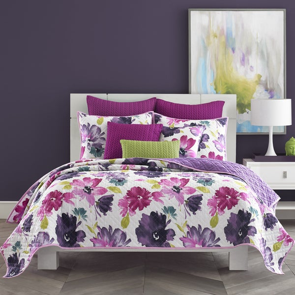 Five Queens Court Mia Fuchsia Pink Floral Cotton Oversized Quilt