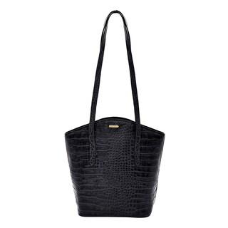 Hidesign Bonn Croco Embossed Black Leather Classic Shoulder Handbag