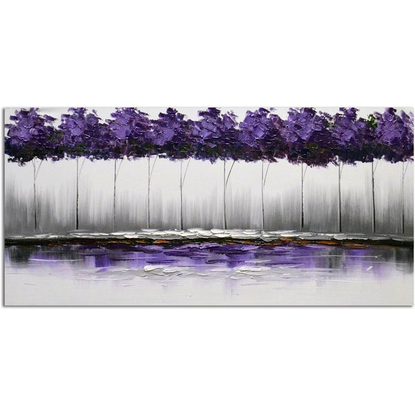 Omax Decor 'Twilight's Plum-rose Forest' Original Canvas Oil Painting