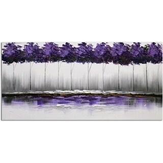 Omax Decor 'Twilight's Plum-rose Forest' Original Canvas Oil Painting