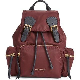 Burberry Women's Burgundy Nylon Rucksack Fashion Backpack