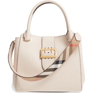 Burberry Ivory Leather Buckle Handbag