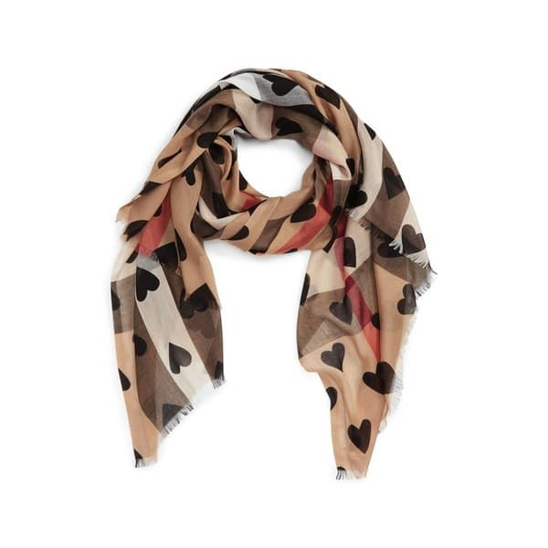 faa0735e9b78d Shop Burberry Lightweight Check Black Heart Scarf - Free Shipping ...