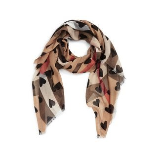 Burberry Lightweight Check Black Heart Scarf