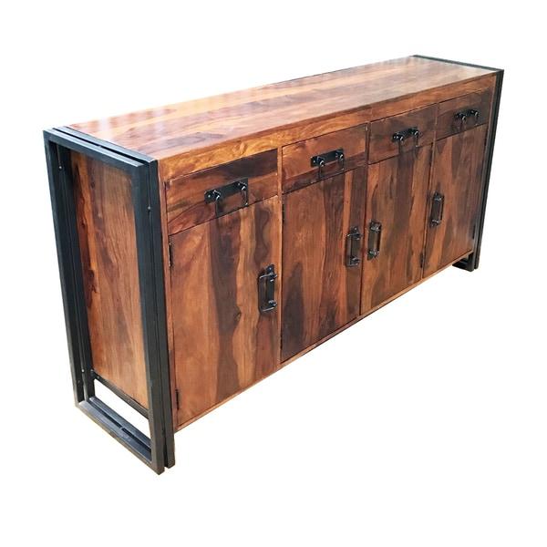 "Handmade Sheesham Wood and Iron 4-door 4-drawer Sideboard (India) - 71"" x 18"" x 35"". Opens flyout."