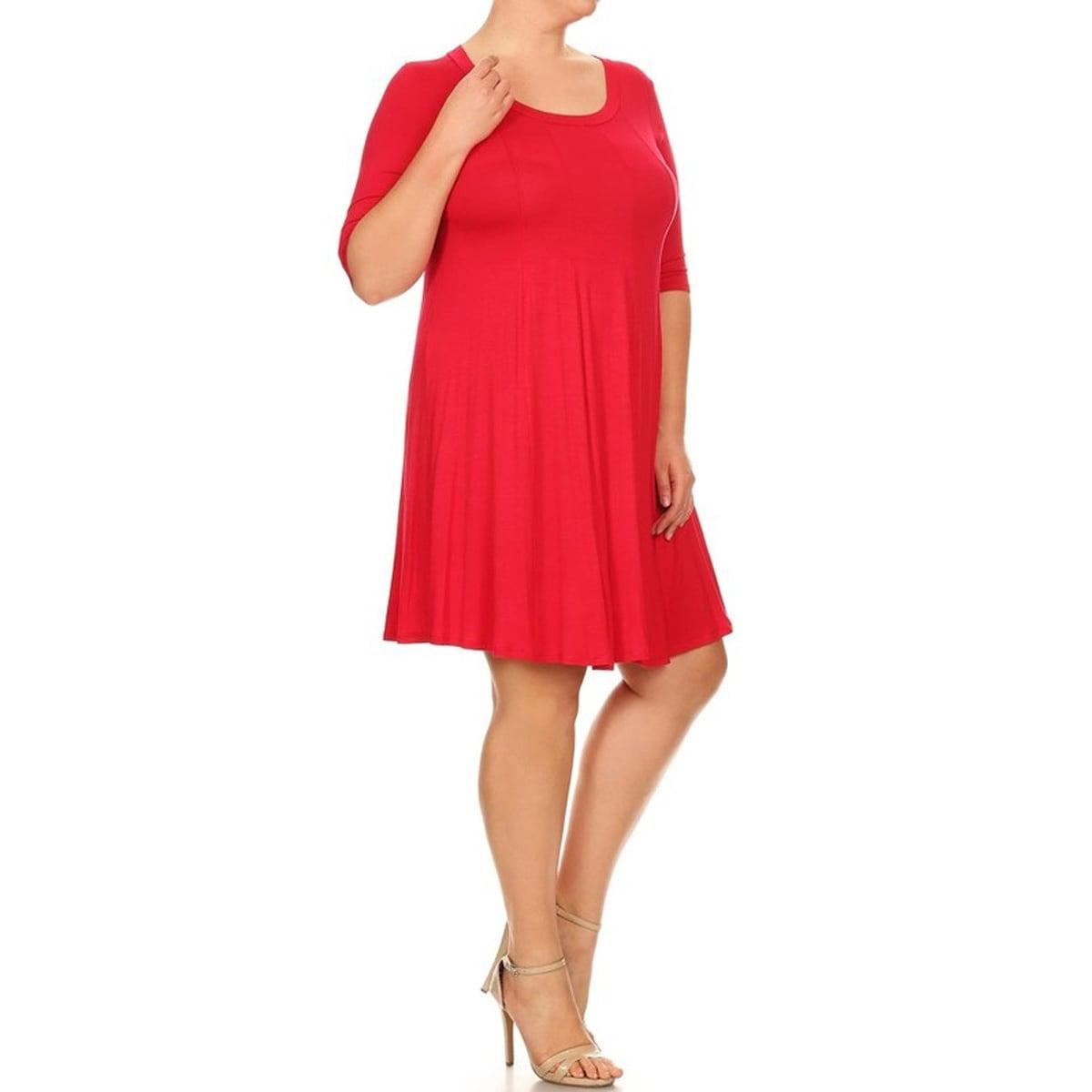 Women-039-s-Solid-Jersey-Plus-Size-Knit-Dress thumbnail 7