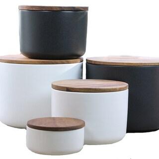 Stoneware Medium Handmade Sealable Canister (India)
