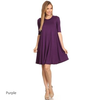 Women's Solid-colored Short-sleeve Dress (Option: PURPLE-SMALL)