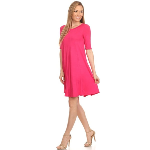 Women's Solid-colored Short-sleeve Dress