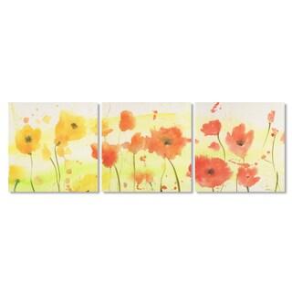 Sheila Golden 'Poppy Song Triptych' Canvas Art