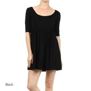 Women's Solid-color Rayon and Spandex Babydoll Dress