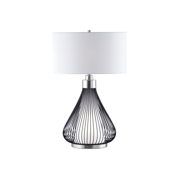 White Linen Shade and Teardrop Matte Black Base Table Lamp