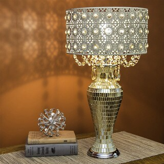 River of Goods Poetic Wanderlust by Tracy Porter Solvang Jeweled Metal/Mosaic Base Cascading Crystal Table Lamp