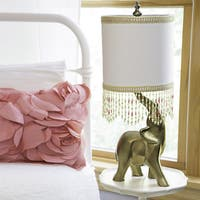 Poetic Wanderlust by Tracy Porter Oro Elephant Beaded Shade and Gold Base Table Lamp