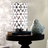 Silver Orchid Guinn Jeweled Chrome Uplight Clear Crystal Accent Lamp