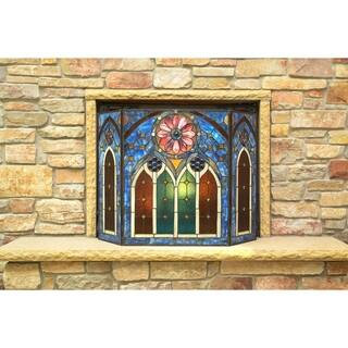 Roman-style Stained Glass Cathedral Fireplace Screen|https://ak1.ostkcdn.com/images/products/14651290/P21189070.jpg?impolicy=medium
