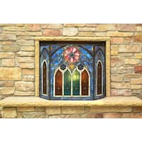 Roman-style Stained Glass Cathedral Fireplace Screen