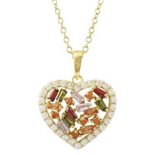 Luxiro Gold Finish Sterling Silver Baguette Cubic Zirconia Heart Pendant Necklace Red