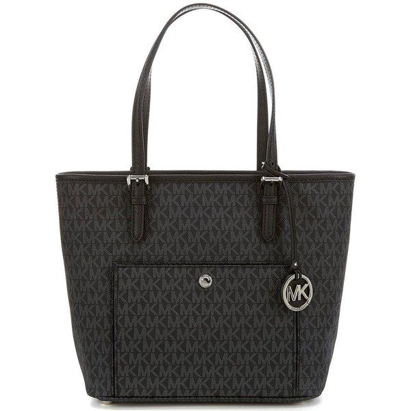 Michael Kors Jet Set Signature Black and Silver PVC Large Top-zip Snap-pocket Tote Bag