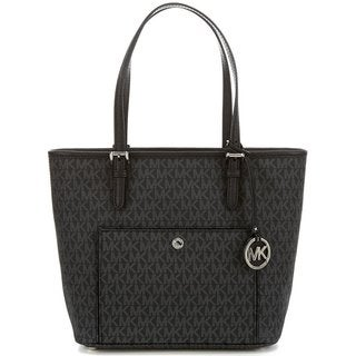 Michael Kors Jet Set Signature Black and Silver PVC Large Top-zip Snap-pocket Tote Bag