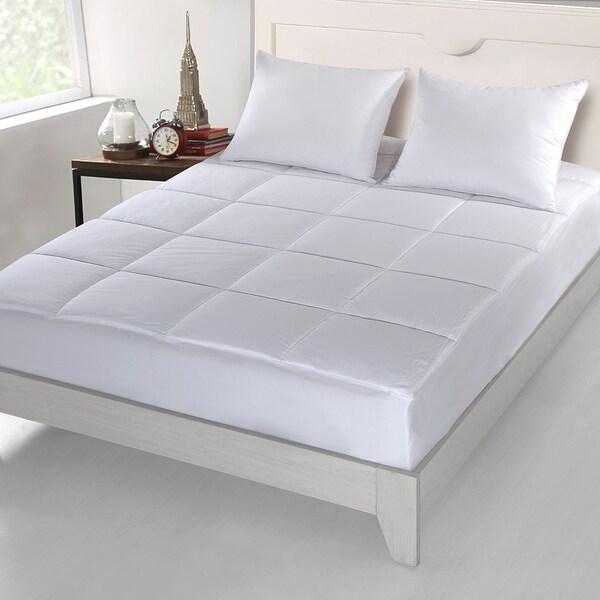 CottonLux 500 Thread Count Cotton Mattress Pad - White