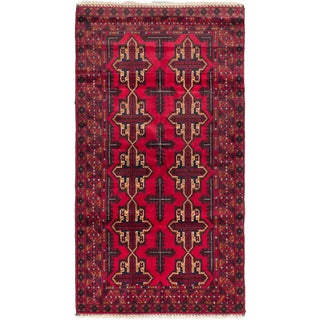 ecarpetgallery Hand-knotted Royal Balouch Blue/ Red Wool Rug (3'7 x 6'5)