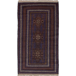 ecarpetgallery Hand-knotted Teimani Blue/ Brown Wool Rug (3'9 x 6'8)