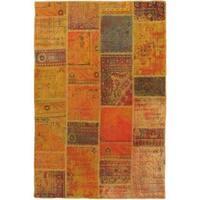 ecarpetgallery Handmade Ottoman Yama Patchwork Brown/ Orange Wool Rug (5'8 x 8'7)