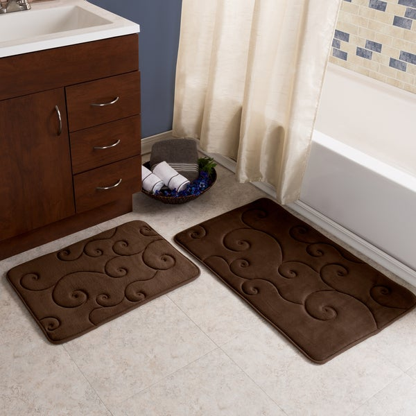 Shop 2 Piece Memory Foam Bath Mat Set By Windsor Home