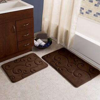 2 piece memory foam bath mat set by windsor