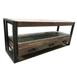 Handmade Timbergirl Old Reclaimed wood and iron 3-drawer TV Console (India)