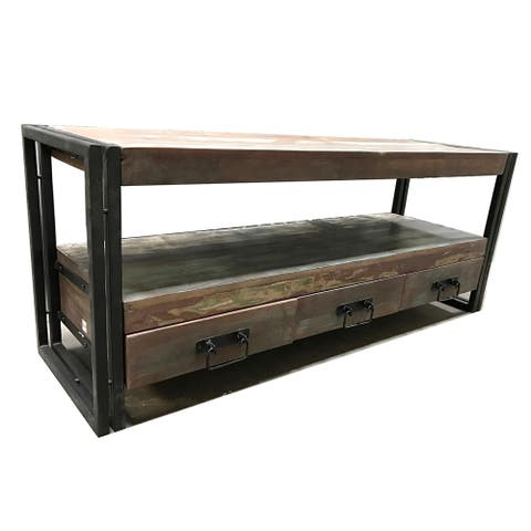 """Handmade Old Reclaimed Wood and Iron 3-Drawer TV Console (India) - 60"""" x 18"""" x 24"""""""