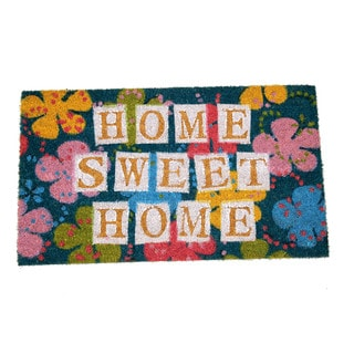 Floral 'Home Sweet Home' Multicolor Coir 17-inch x 29-inch Doormat