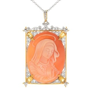 Michael Valitutti Palladium Silver Carved Shell Virgin Mary Cameo & Citrine Pendant