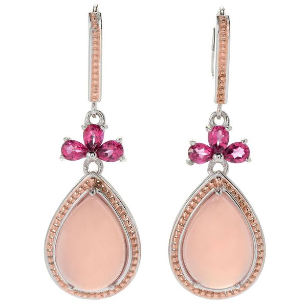 Michael Valitutti Palladium Silver Pink Chalcedony Topaz Drop Earrings