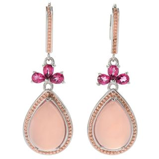 Michael Valitutti Palladium Silver Pink Chalcedony & Pink Topaz Drop Earrings