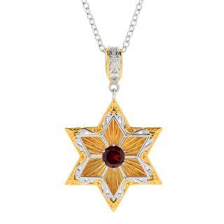 Michael Valitutti Palladium Silver Garnet January Birthstone Star of David & Prayer Pendant