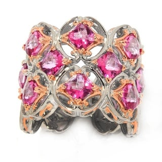 Michael Valitutti Palladium Silver Checkerboard Cut Pink Topaz Wide Band Ring - Size 6