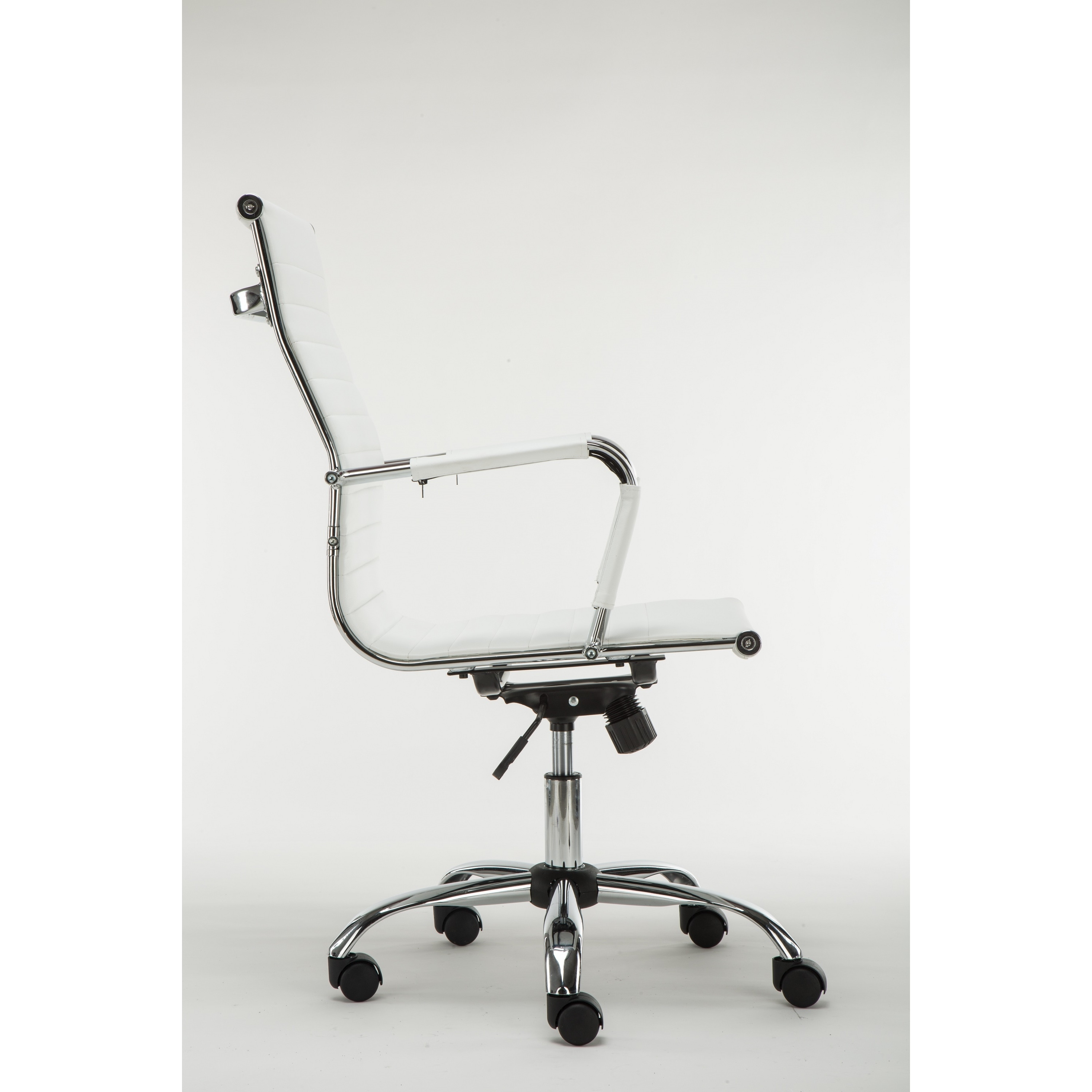 High Back Ribbed Swivel Adjule Leather Executive Office Chair