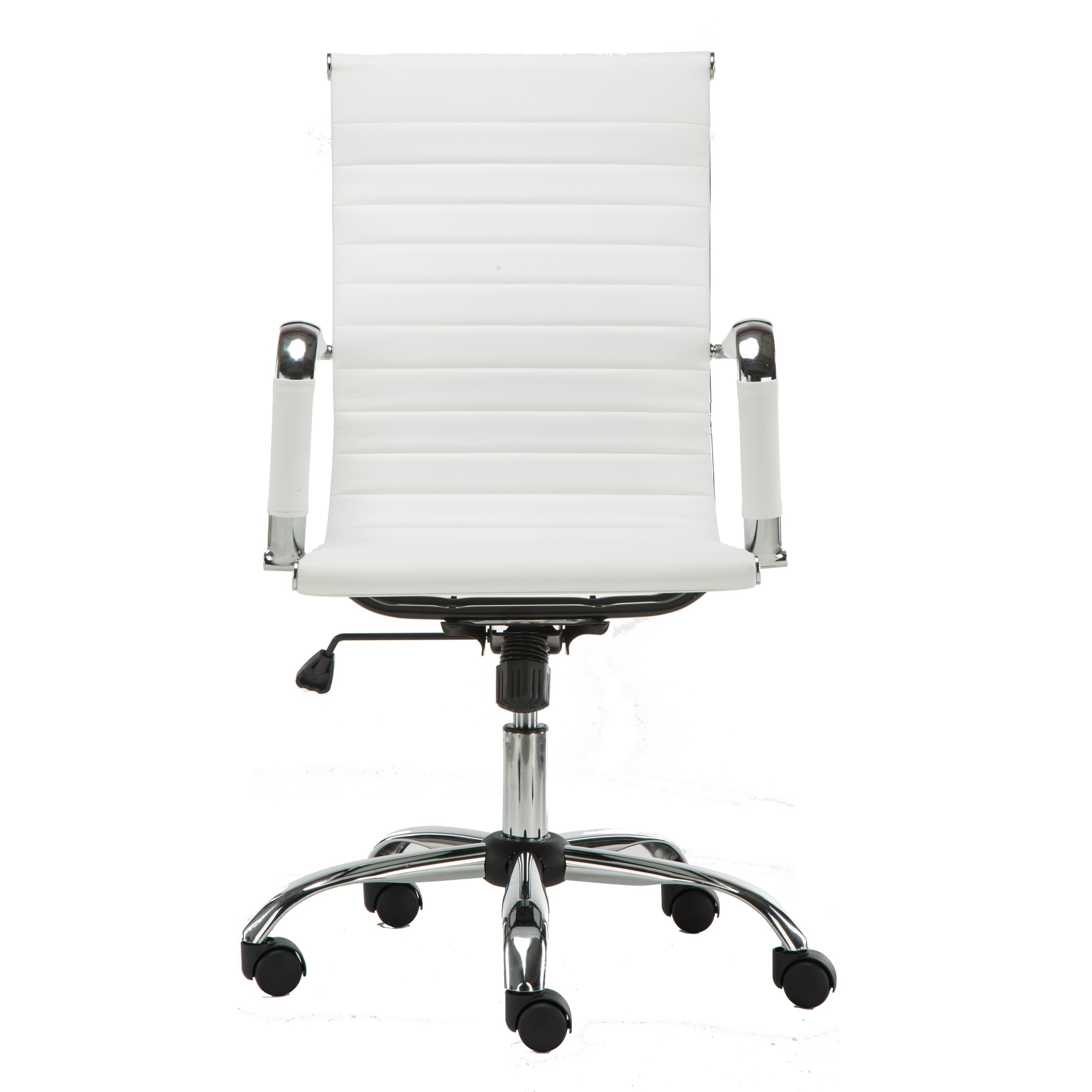 High Back Ribbed Swivel Adjustable Leather Executive Office Chair