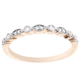 H Star 14k Rose Gold 1/10ct TDW Diamond Milgrain Band