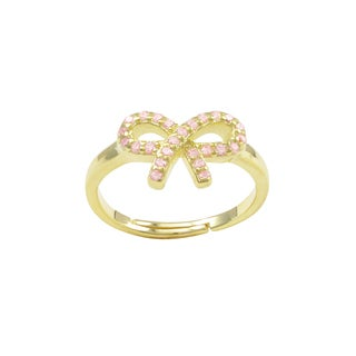 Luxiro Gold Finish Sterling Silver Light Pink Cubic Zirconia Bow Children's Adjustable Ring