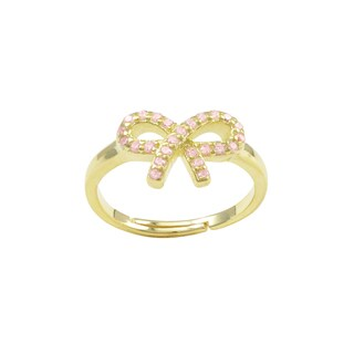 Luxiro Gold Finish Sterling Silver Light Pink Cubic Zirconia Bow Children's Adjustable Ring (3 options available)
