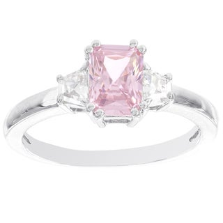 H Star Sterling Silver Pink and White Diamagem Ring