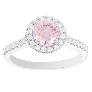 H Star Sterling Silver Pink and White Diamagem Halo Ring