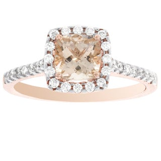 H Star 14k Rose Gold Cushion-cut Morganite and 1/3ct TDW Diamond Engagement Ring (I-J, I2-I3)