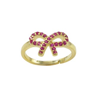 Luxiro Gold Finish Sterling Silver Fuchsia Cubic Zirconia Bow Children's Adjustable Ring - Pink
