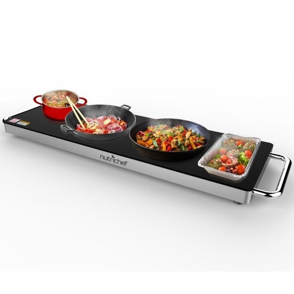 NutriChef PKWTR40 Electric Warming Tray / Food Warmer with Non-Stick Heat-Resistant Glass Plate