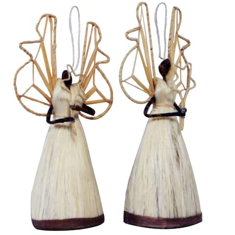 Handmade Banana Leaf Angel Standing Holding Star Ornament, Set of 2 (Kenya)