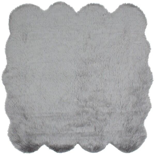 shop ecarpetgallery polara grey acrylic faux fur rug free shipping today. Black Bedroom Furniture Sets. Home Design Ideas